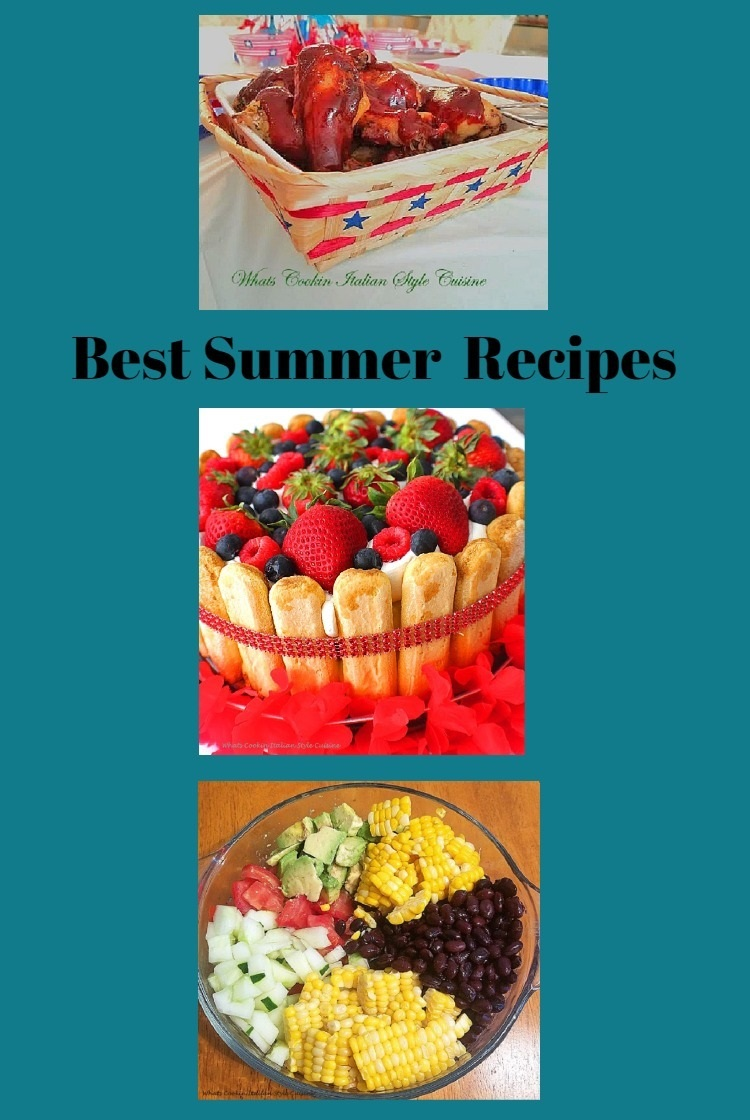 Red white and blue appetizers and fun foods and side dishes for holiday with corn, beans, cakes, meats, festive and colorful
