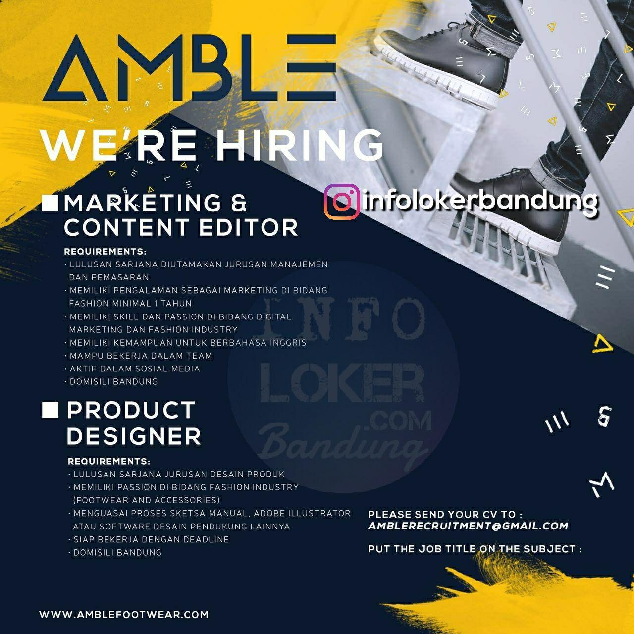 Lowongan Kerja Amble Footwear Bandung Maret 2018