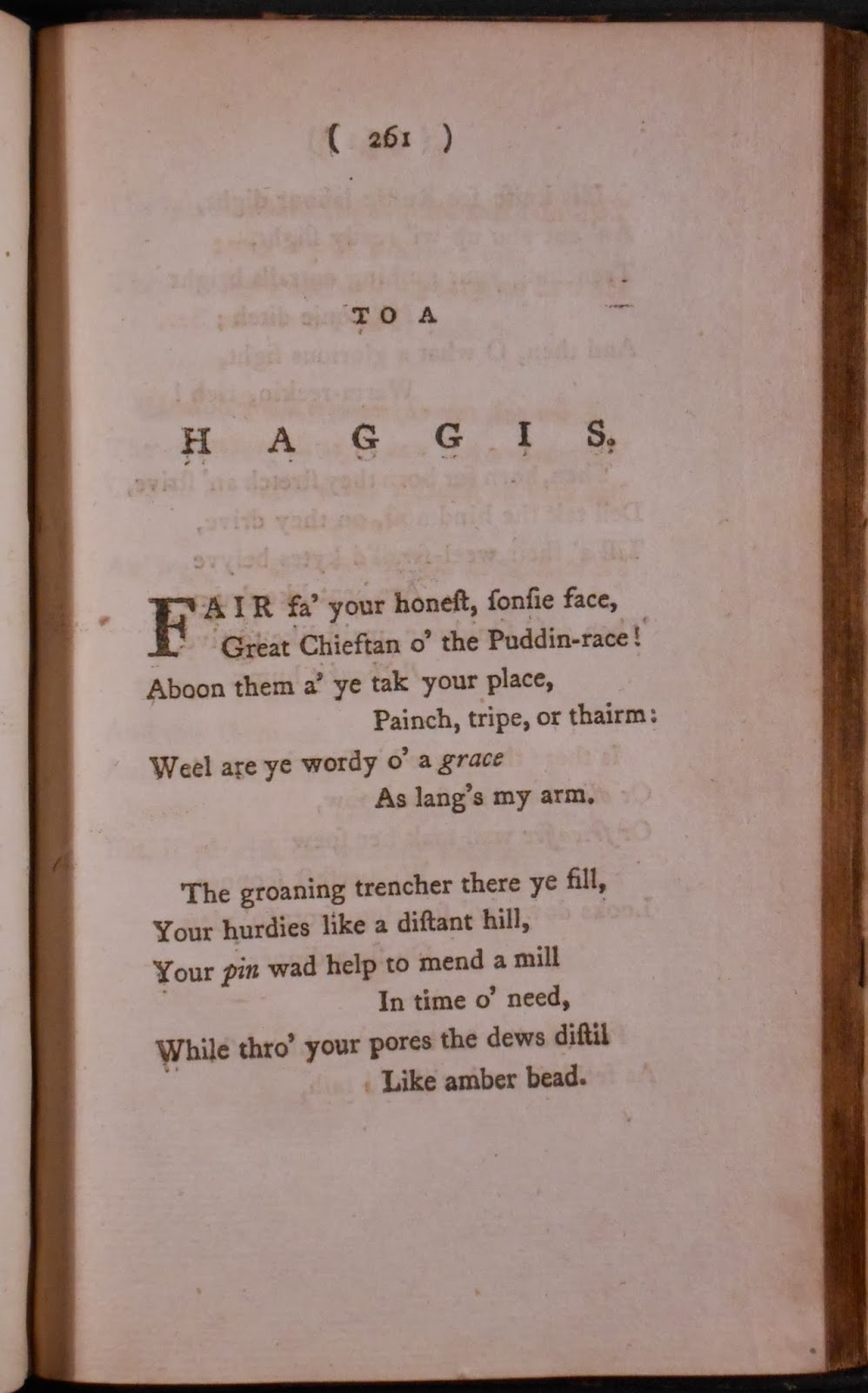 "A printed page of verse with the title ""To a Haggis."""