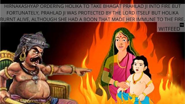 HIRNAKASHYAP ORDERING BHAGAT PRAHLAD JI TO TAKE HOLIKA INTO FIRE