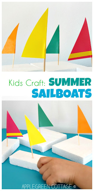 How to make easy DIY sailboats out of styrofoam packaging. A great water play idea for the summer your kids will love!