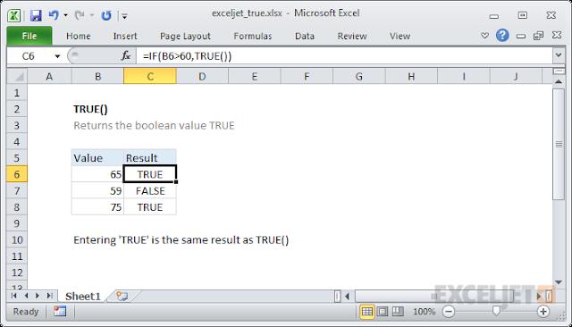 صيغ الدالة TRUE واستخدامها في برنامج Microsoft Excel