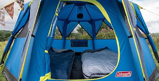Coleman Octago Tent showing inside with 2 beds