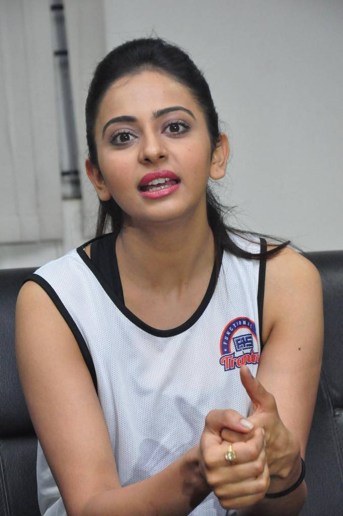 Rakul Preet Singh Stills At Fitness Event In White Top