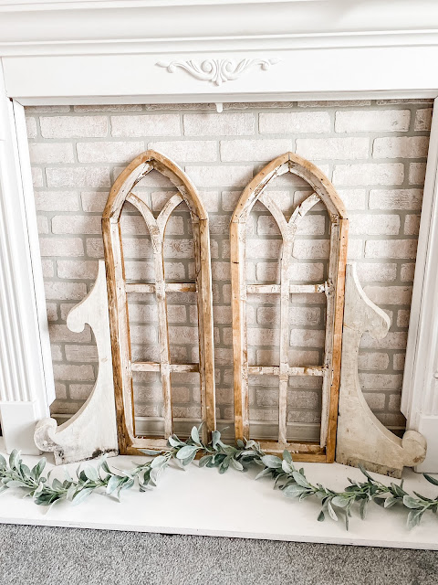 cathedral arches vintage corbels white faux brick sheet