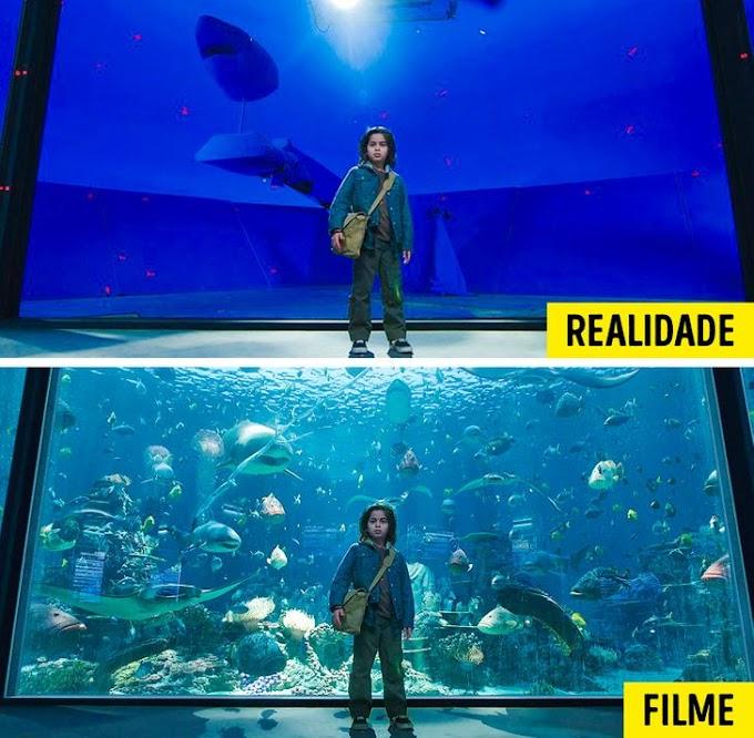 Cenas antes e depois dos efeitos especiais
