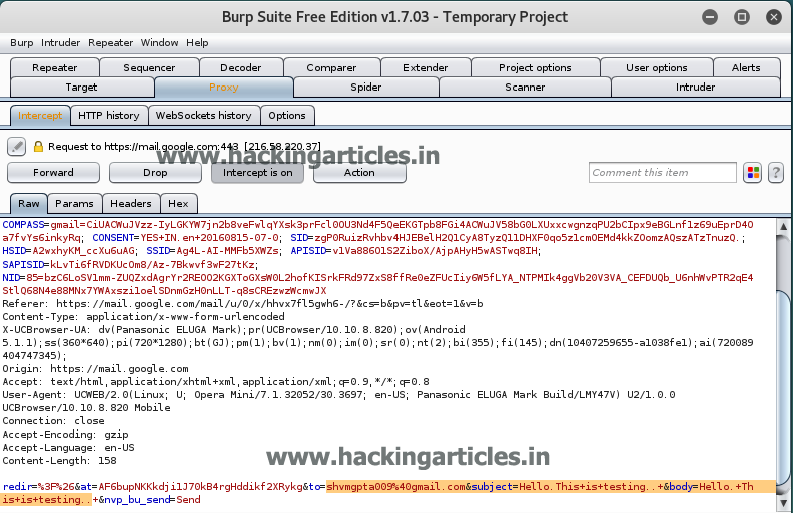 Hijacking Gmail Message on Air using Burpsuite