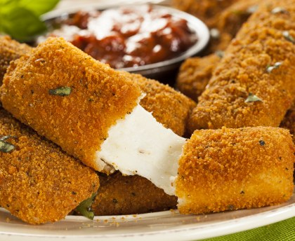 Crunchy melting mozzarella sticks