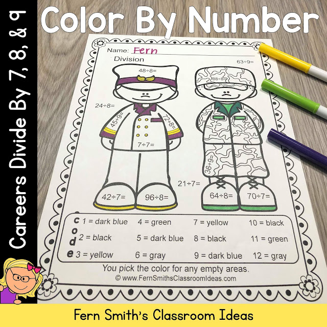 Click Here to Download Just the Division Color By Number Divide by 7, 8, and 9 Careers - Community Helpers Resource