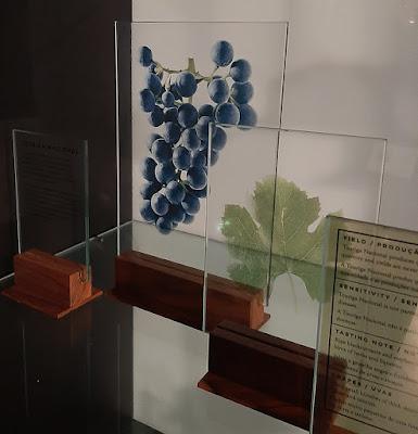 display com uva e folhas
