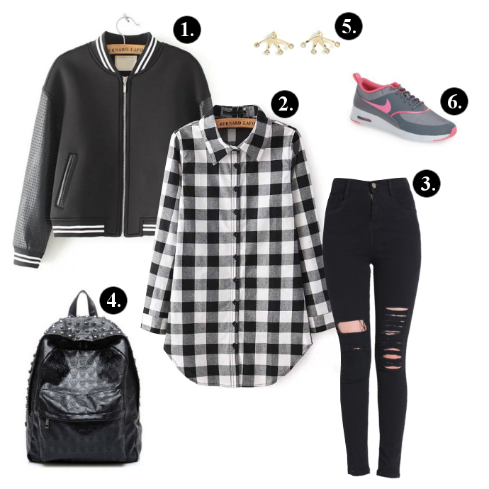 Back to school outfits, Back to school outfit ideas, Oasap Backpack, GoJane Earrings, SheIn Jacket, SheIn Plaid Shirt, SheIn Pants, Nike Sneakers, backpacks, sneakers