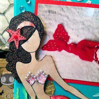 scrapbook, scrapbooking, mixed media, paper crafting, mermaid, ocean, sea, seahorse, flowers, baby, infant, handmade, custom, freebie, free cut file, coral, seaweed, distress ink, Prima, Tim Holtz, stamping