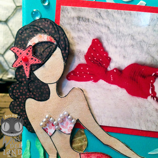 The Little Mermaid:  A Mixed Media Disc Case by Alice Scraps Wonderland | This scrapbook like custom disc case is full of texture and dimension!