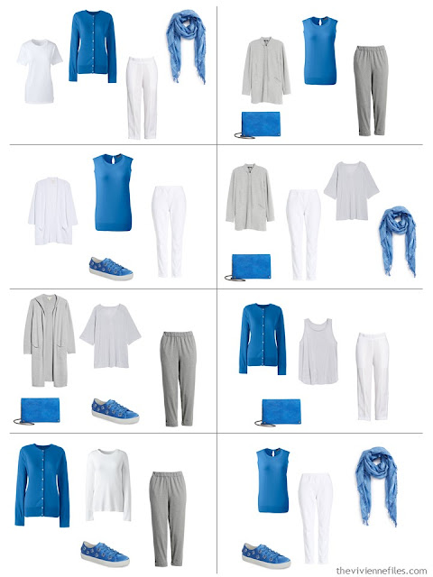 8 outfits in grey and white with Palace Blue accents