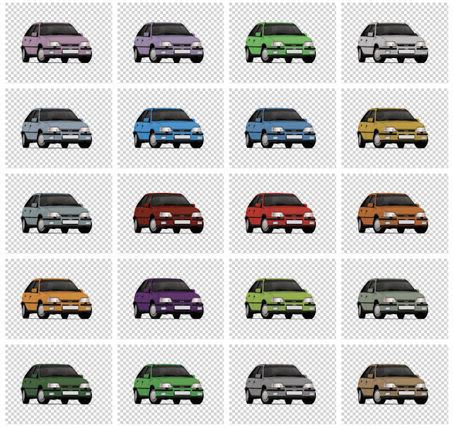 Vauxhall Astra MK2 GTE color options