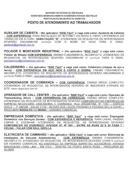 VAGAS DE EMPREGO DO PAT BARRETOS PARA 05-11-2020 PUBLICADAS DE MANHÃ - Pag. 5