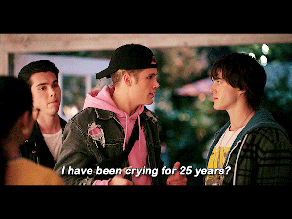Julie and the Phantoms: Reggie, Alex, and Luke with the caption [Alex]: I have been crying for 25 years?