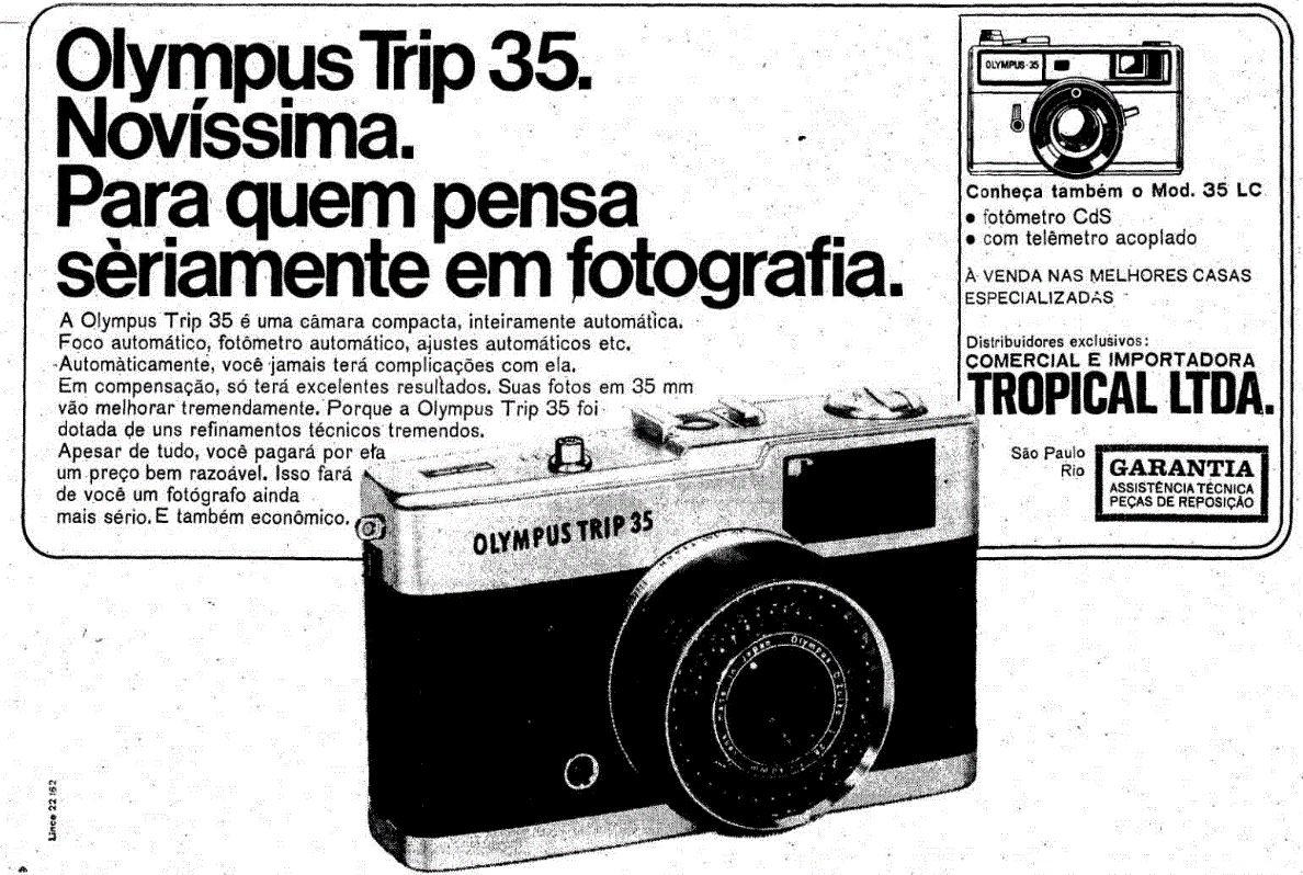 Propaganda antiga da Olympus promovendo sua câmera fotográfica em 1968