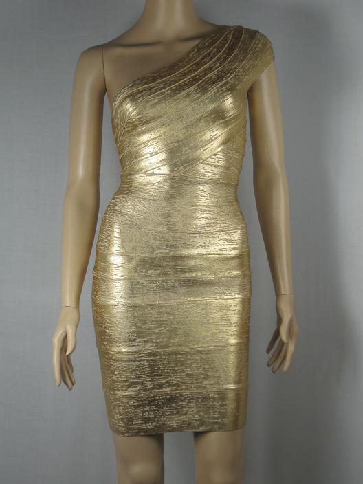 e3f44efeb6f Motte Preorder: Herve Leger Gold One Shoulder Bandage Dress