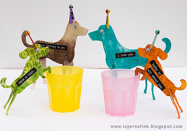 Layers of ink - Party Decor Birthday Dogs Tutorial by Anna-Karin Evaldsson with 3D Dogs Sizzix Where Women Cook die