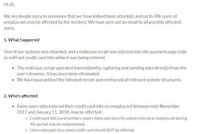 40 Ribu Pelanggan OnePlus Telah Dicuri Data kartu Kreditnya