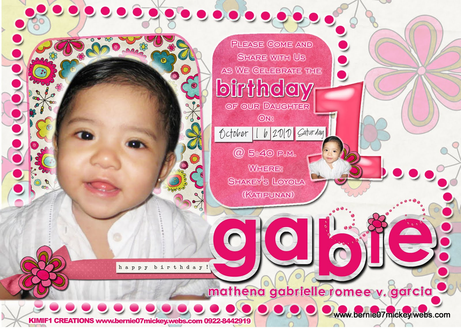 F1 Digital Scrapaholic Gabs 1st Birthday Invitation