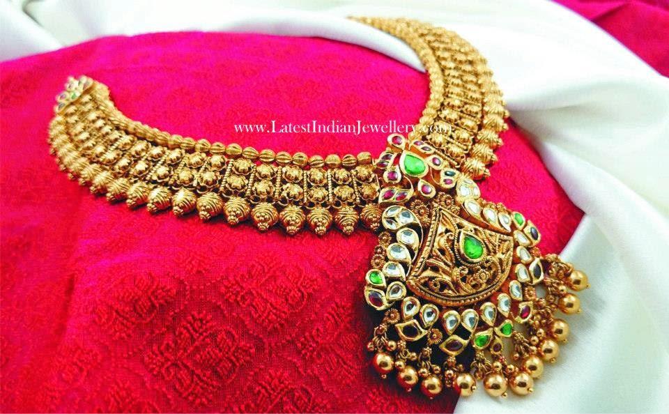Kundan Pendant Antique Gold Bridal Necklace Latest