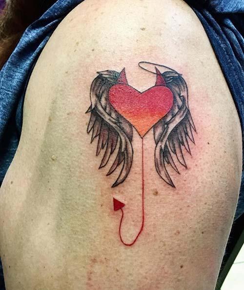 şeytan melek kalp dövmesi devil angel heart tattoo