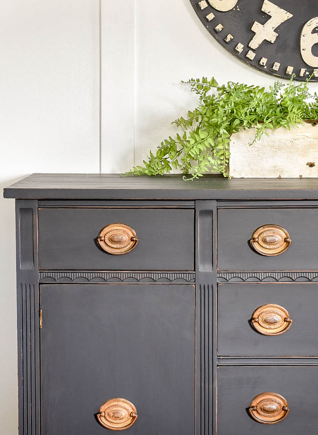 painted antique buffet with original hardware