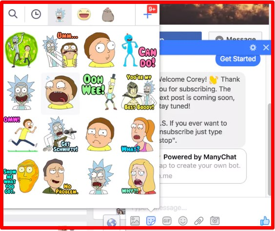 Rick and Morty Stickers Facebook