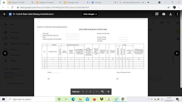 Contoh Format Buku Induk Barang Inventaris