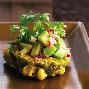 Christmas starter - Sweetcorn and red chilli cakes with avocado salsa with recipe link