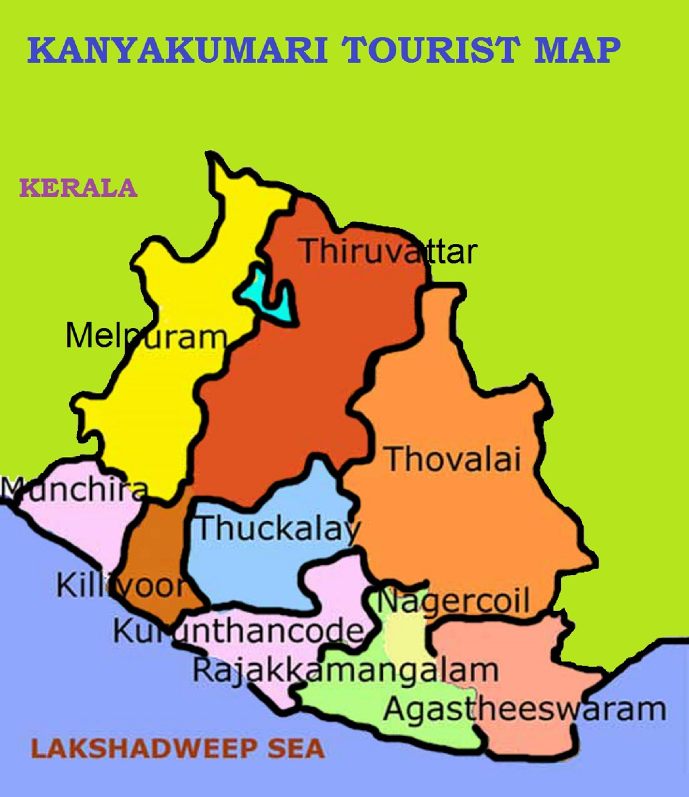 KANYAKUMARI TOURIST MAP – South India Map With Tourist Places