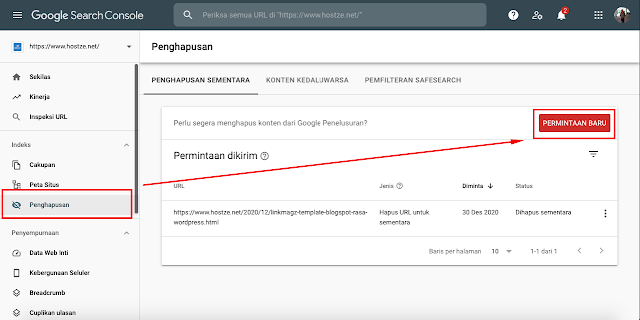 Menu Penghapusan Pada Google Search Console  - hostze.net