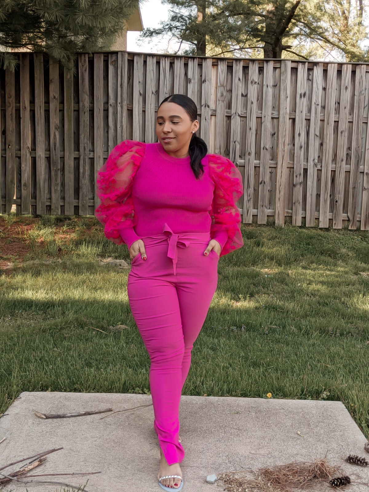 statement sleeves, puffy sleeves, spring outfit ideas, pink outfits, patty skloset, how to style puff sleeves
