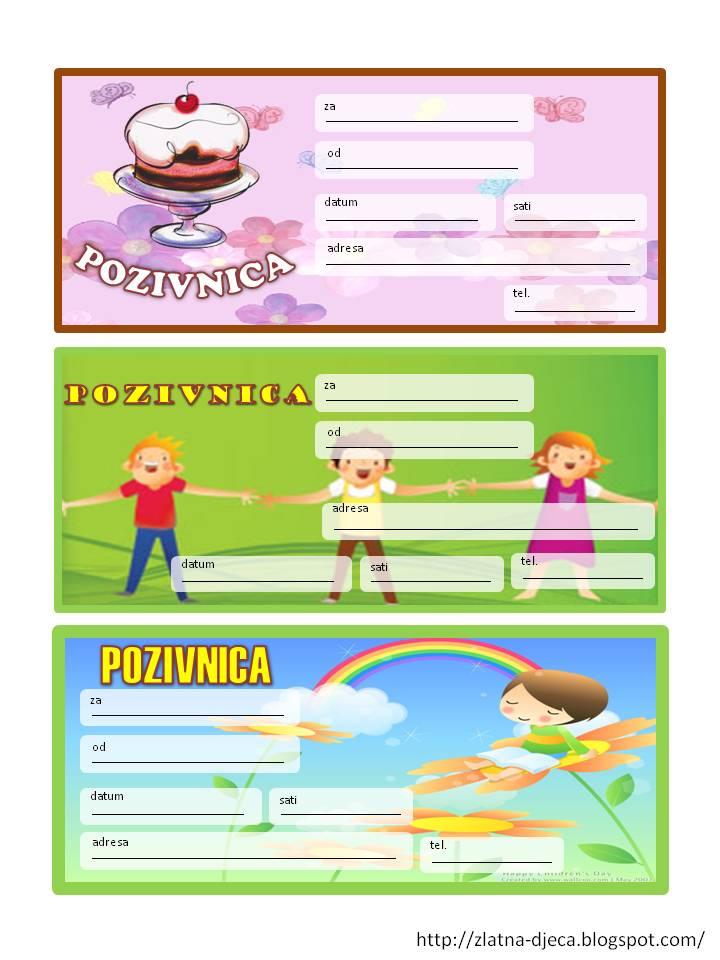 pozivnice za rođendan u boji Zlatna djeca: Rođendanske pozivnice pozivnice za rođendan u boji