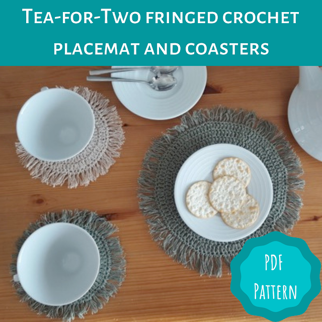 Tea-for-Two fringed crochet placemat and coasters