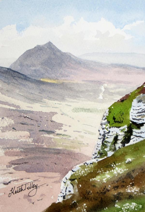 Morven, in the range of mountains in the South of Caithness. Original watercolour.