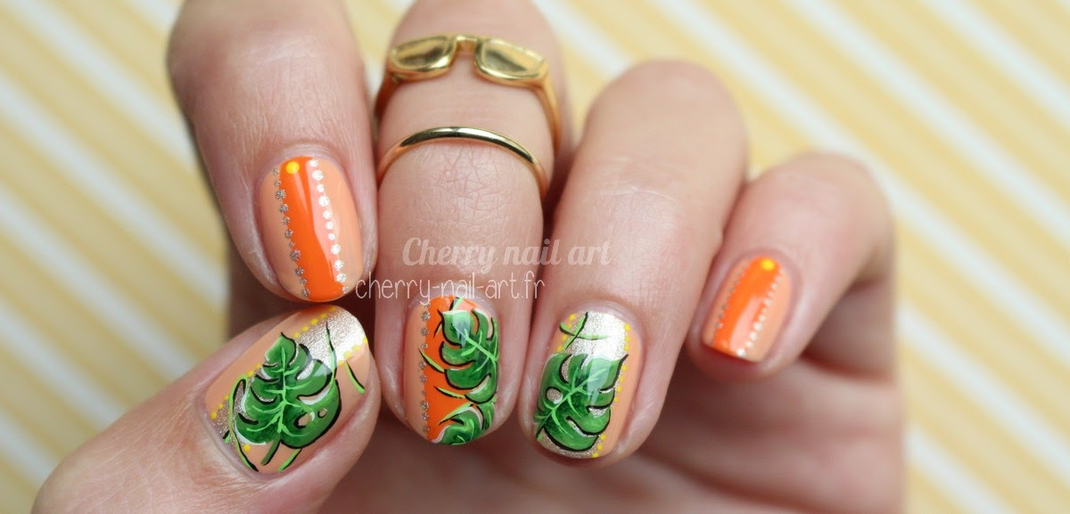 nail-art-feuille-monstera-jungle
