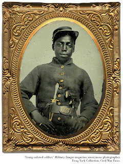 Tintype: 'Young enlisted soldier,' Military Images magazine; Doug York Collection, Civil War Faces.