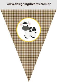 Banderines de de Divertida Vaquita  para imprimir gratis.