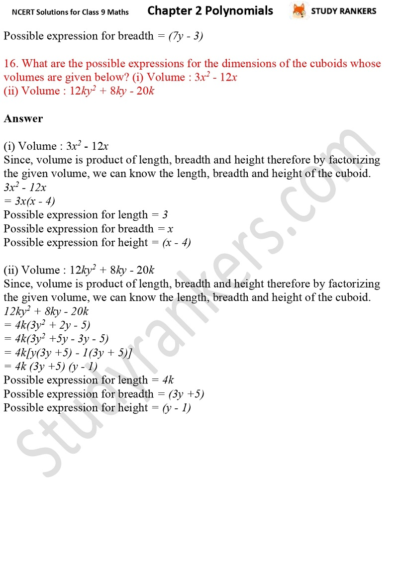 NCERT Solutions for Class 9 Maths Chapter 2 Polynomials Part 28