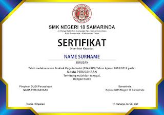 Free Template Sertifikat PNG