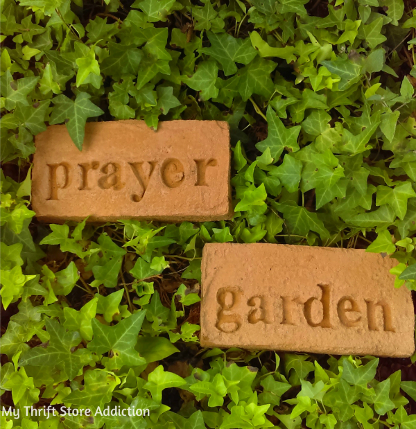 Secret Garden Herbs stamped cement stones