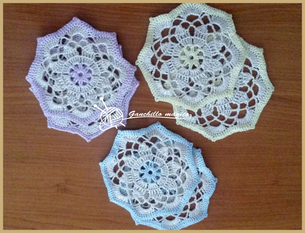 Anabelia craft design: Shabby-chic crochet star ornaments