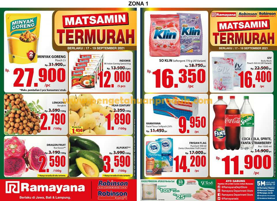 Katalog Promo Ramayana Supermarket Periode 17-19 September 2021