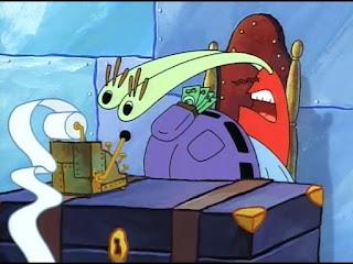 Polosan meme tuan krab 6 - Tuan krab melotot bingung melihat pengeluaran nota kertas di meja