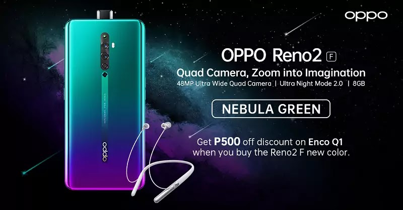 OPPO Reno2 F in Nebula Green