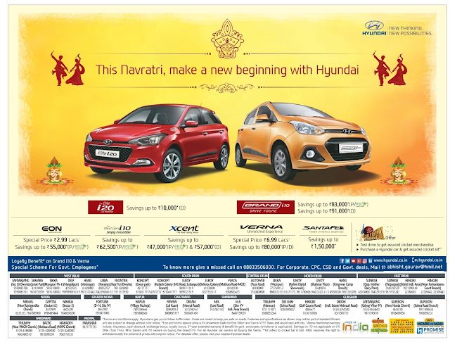 Elite i20 savings offers up to rs 10,000*  Grand i10 savings offer up to rs 83,000(p/cng), sabings up to Rs 91,000(D). Many more offers on EON, i10, Verna, Xcent, Santafe | Dasara, Dasshera, Diwali festival offers, discounts, low emi, low rate of interest, zero downpayment offers