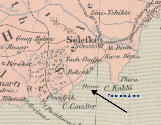 Dana Adası 1892 Adana Vilayeti haritası